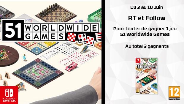 #Concours 🔥 Tentez de remporter 1 jeu 51 WorldWide Games sur Nintendo Switch. Au total 3 gagnants. Pour participer, il faut : ✔️Follow @HypergamesA ✔️RT le tweet TAS le 10/06 Voir le règlement ci-dessous :