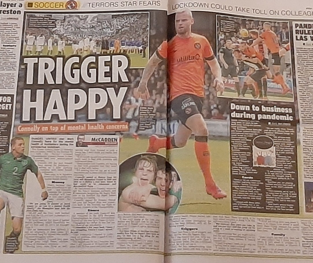 Ex-Ireland U21 ace @Mark5Connolly has made the most of lockdown. Having won the Scottish Championship with @dundeeunitedfc, he and some former teammates have set up a kids clothing brand. And a % of initial sales will go to mental health charity 👏 🗞 Todays @IrishStarSport