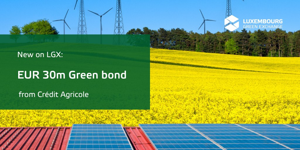 @CreditAgricole has returned to #LGX to display another #greenbond on our platform!    The EUR 30m bond proceeds from the repeat issuer will be used to finance #renewableenergy and #energyefficiency projects.   Find out more about the new bond https://bit.ly/36vU4Xnpic.twitter.com/dmnbfk0JFN
