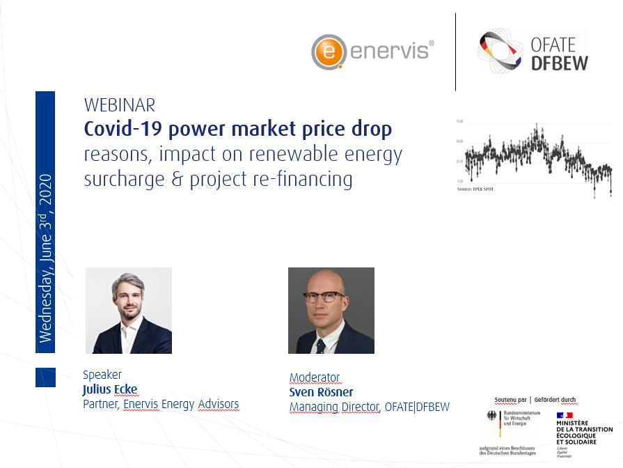 Heute um 10 Uhr beginnt das #Webinar des DFBEW und enervis energy advisors zu #Covid_19 Electricity price drop – reasons and impact on renewable energy surcharge and project re-financing. Schalten Sie sich dazu unter: https://bit.ly/36yBRs9pic.twitter.com/DKoEGVGvlu
