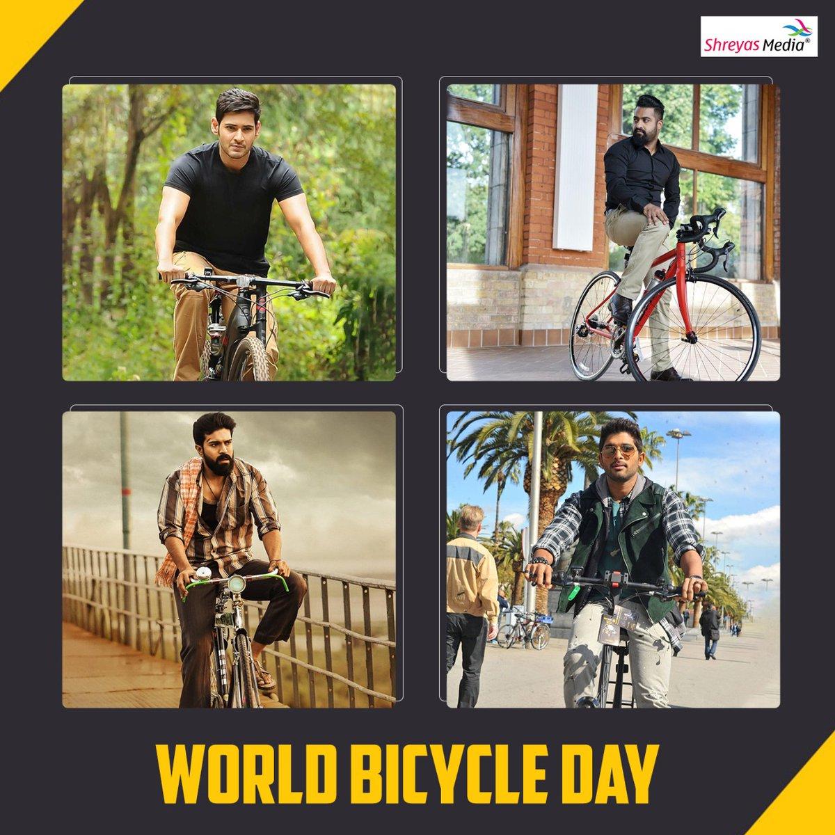 Its #WorldBicycleDay and we love these 4 looks of our stars!  #MaheshBabu #JrNTR #RamCharan #AlluArjun #ShreyasMedia https://t.co/zXHFj2iunp