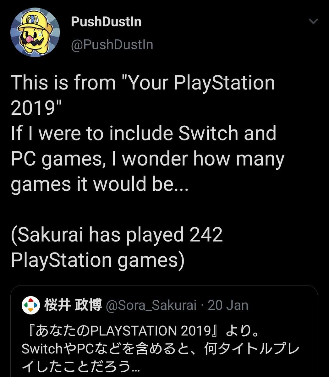 Replying to @PushDustIn: Just a reminder that Masahiro Sakurai plays more games than you do.