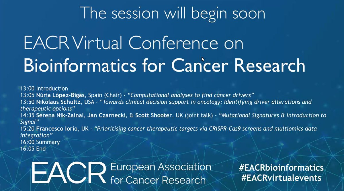 Keeping up to date with great Bioinformatics tools for Cancer Research 👩‍🔬🖥️ at #EACRbioinformatics #EACRvirtualevents https://t.co/zINV4QqLtn