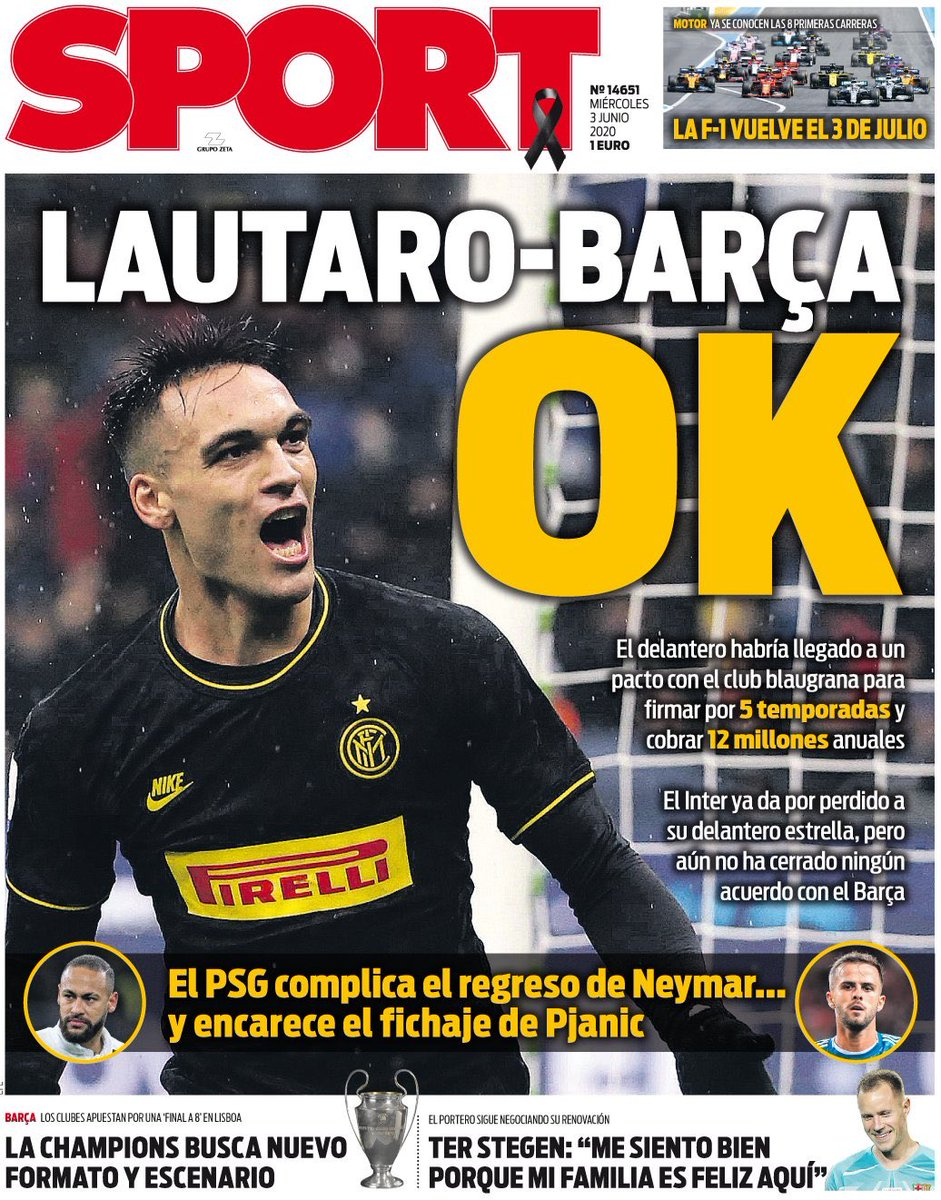 "『SPORT』 ""Lautaro-Barça, OK"" 「ラウタロ-バルサ、OK」 #PortadaSport https://t.co/RGrgkG8cYu"