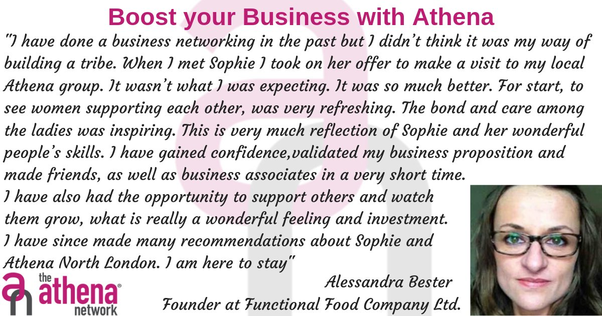Here at The Athena Network we support each other.  You can also support others and watch them grow by joining our network.  Contact me for information on our groups   #NorthLondon #womensnetworking  #womeninbusiness #TheAthenaNetwork #AthenaConnection #WomanInBusiness https://t.co/nrPJy0kYcJ