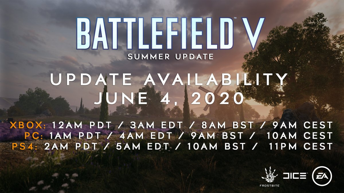 Update Notes for the #Battlefield V Summer Update have been posted to our Official Forums and Community Subreddit.   This update will go live tomorrow, and delivers new content for the game alongside additional changes and fixes.  📝 https://t.co/1Ou77JjPZF https://t.co/HxB4Fqkz6c