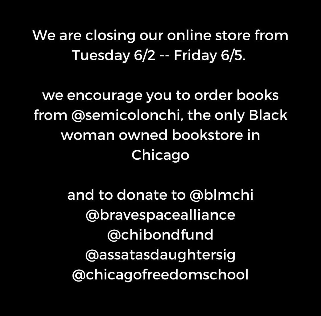 From @wcfbook. But don't let this be the only time you buy from @SemicolonChi. Many shop @wcfbook bc they want to support and elevate the voices of women. Investing in Black women specifically *is* imperative. So, spread your accumulated intergenerational wealth here, too.