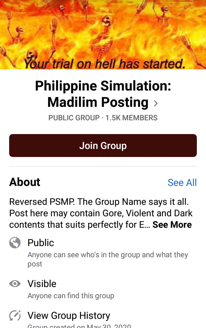 "HELLO TWITTER!! This group was deleted but got back and this is the shitstorm. PLEASE HELP MASS REPORT THEM. Its a group that labels rape, pedophilia and racism as ""dark humor"". Theyre also making fun of George Flyod. Link down below. #BlackLivesMatter"