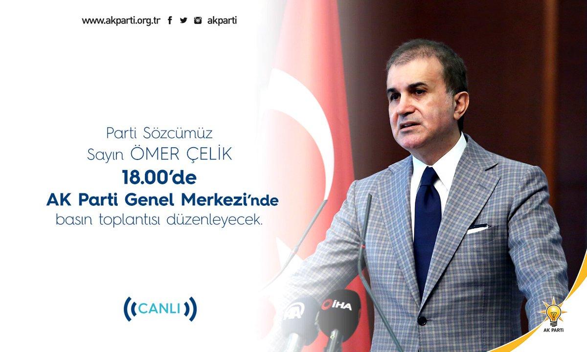 Parti Sözcümüz Sayın @omerrcelik saat 18.00'de AK Parti Genel Merkezi'nde basın toplantısı düzenleyecek.