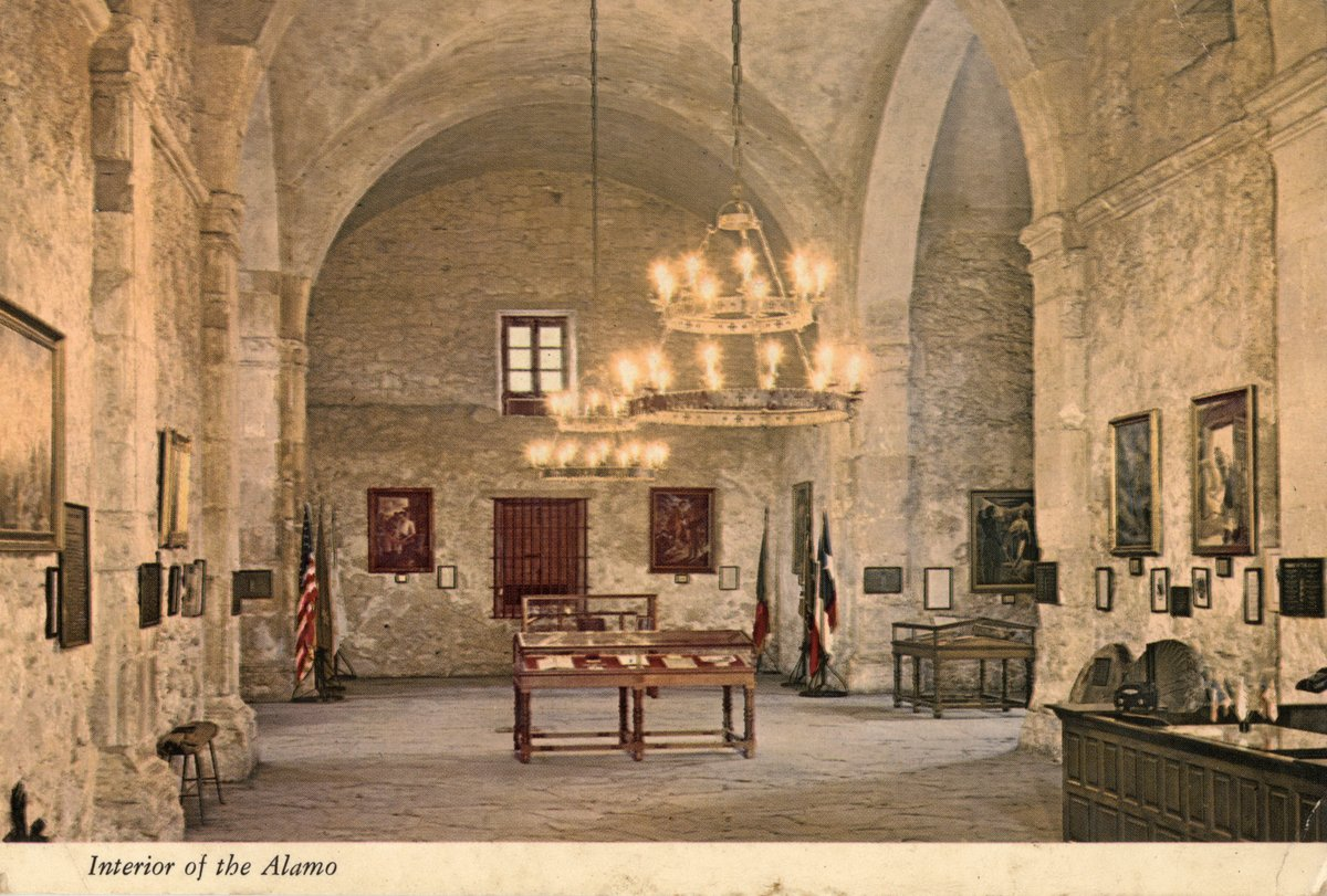 This #PostcardsFromTheAlamo shows the inside of the Church, though no date is given.