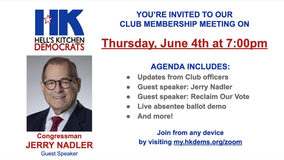 JOIN OUR VIRTUAL CLUB MEETING THIS THURSDAY AT 7PM FEATURING CONGRESSMAN JERRY NADLER! my.hkdems.org/zoom