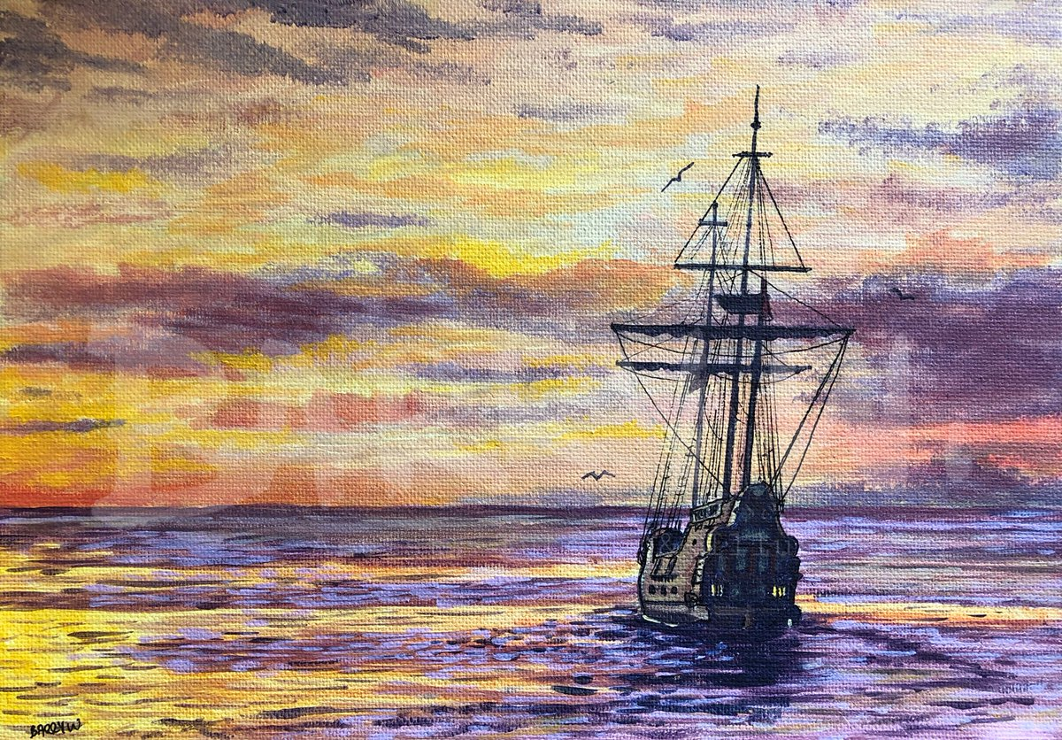 This galleon sailing into the sunset was the subject of my online acrylic class yesterday. If you want to learn how to do it, you can still access the lesson for £5.  #art #artist #artlesson #onlineartlesson #painting #britishartist #arttutorpic.twitter.com/gj04sliwkR