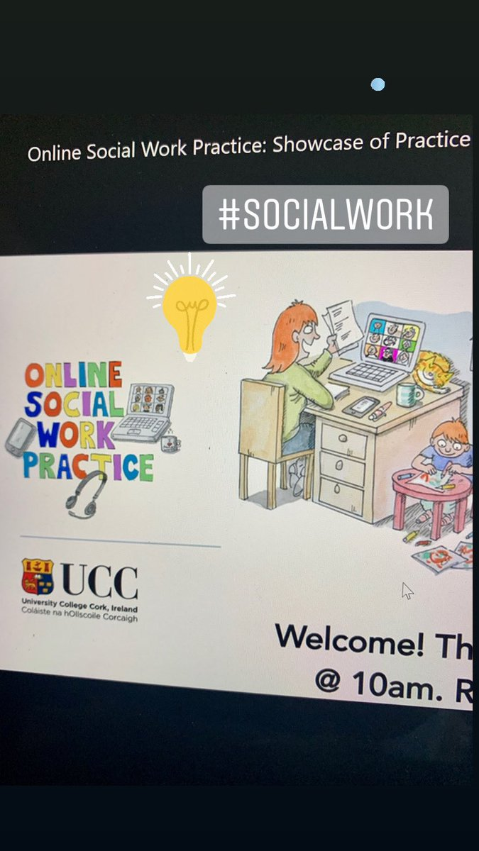 Amazing webinar series by UCC Online #SocialWork Practice: Showcase of Practice Initiatives  Short presentations by front-line practitioners and services explaining how, due to Covid-19, they used off-the-shelf software and communication platforms to provide services online.pic.twitter.com/XFkyeAu1Ml