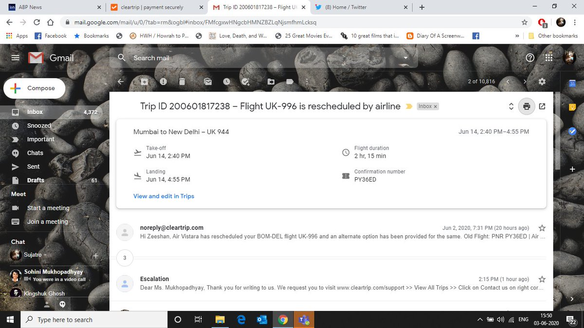 @Cleartrip I have been informed by the airlines that I have to accept my rescheduled flight by the airlines. However when I proceed to the customer support, it says I have to call on the number provided for the same. When I call on the number it asks me to move online.