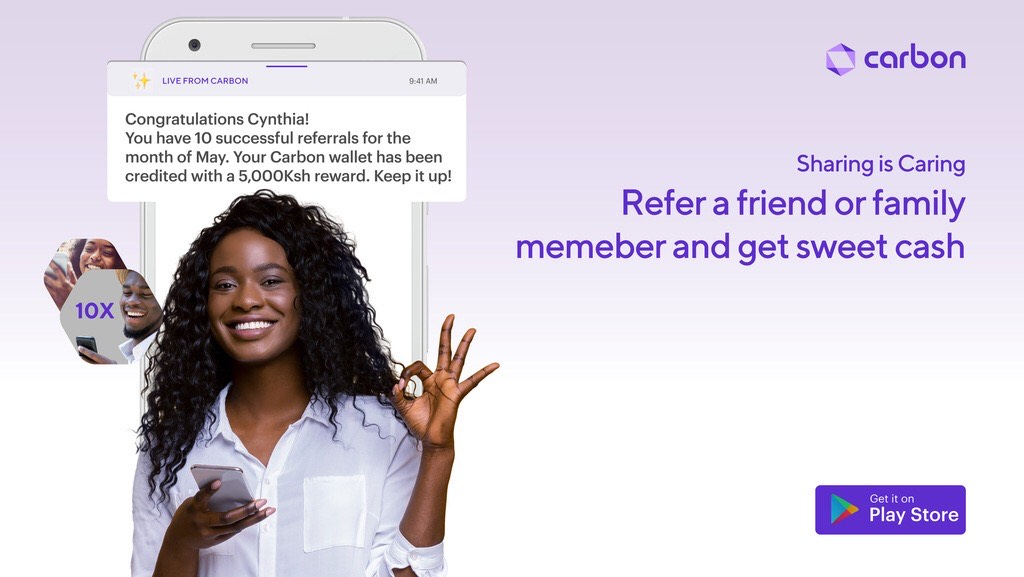 For every successful referral made to Carbon, we're awarding you 500ksh, once the loan is paid on time!   The more the referrals, the the more the cash.   What are you waiting for?  #GetCarbon<br>http://pic.twitter.com/tIFPKvJfYZ