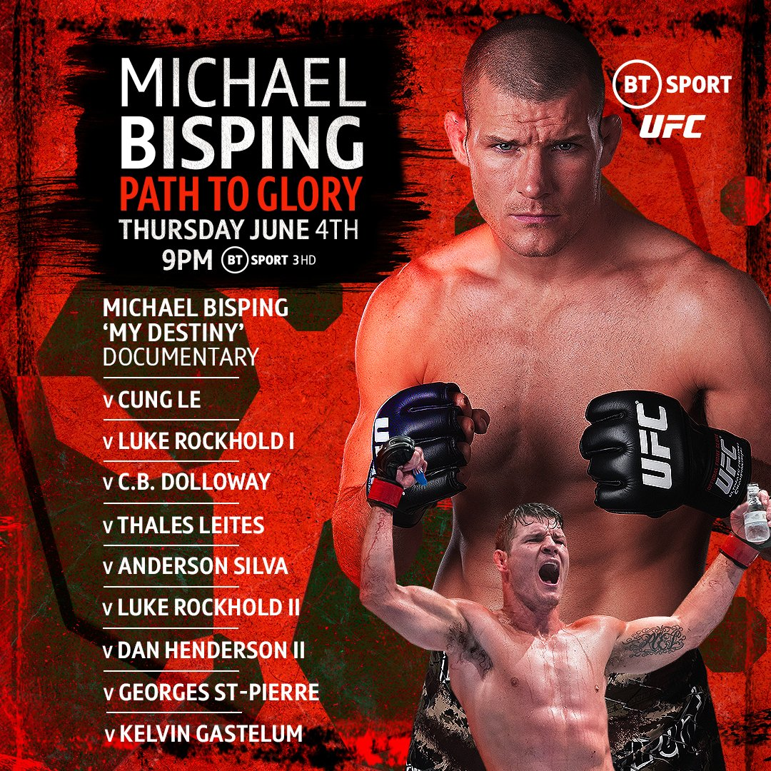 Michael Bisping: Path to Glory 🏆 Michael Bisping: #OpenMat special 🎙 Michael Bisping exclusive interview 👀  Tomorrow marks the anniversary of The Count's title win against Luke Rockhold.  Join us on BT Sport 3 for a whole evening dedicated to the UK's only UFC champ 👊 https://t.co/GIlXfzK3vB