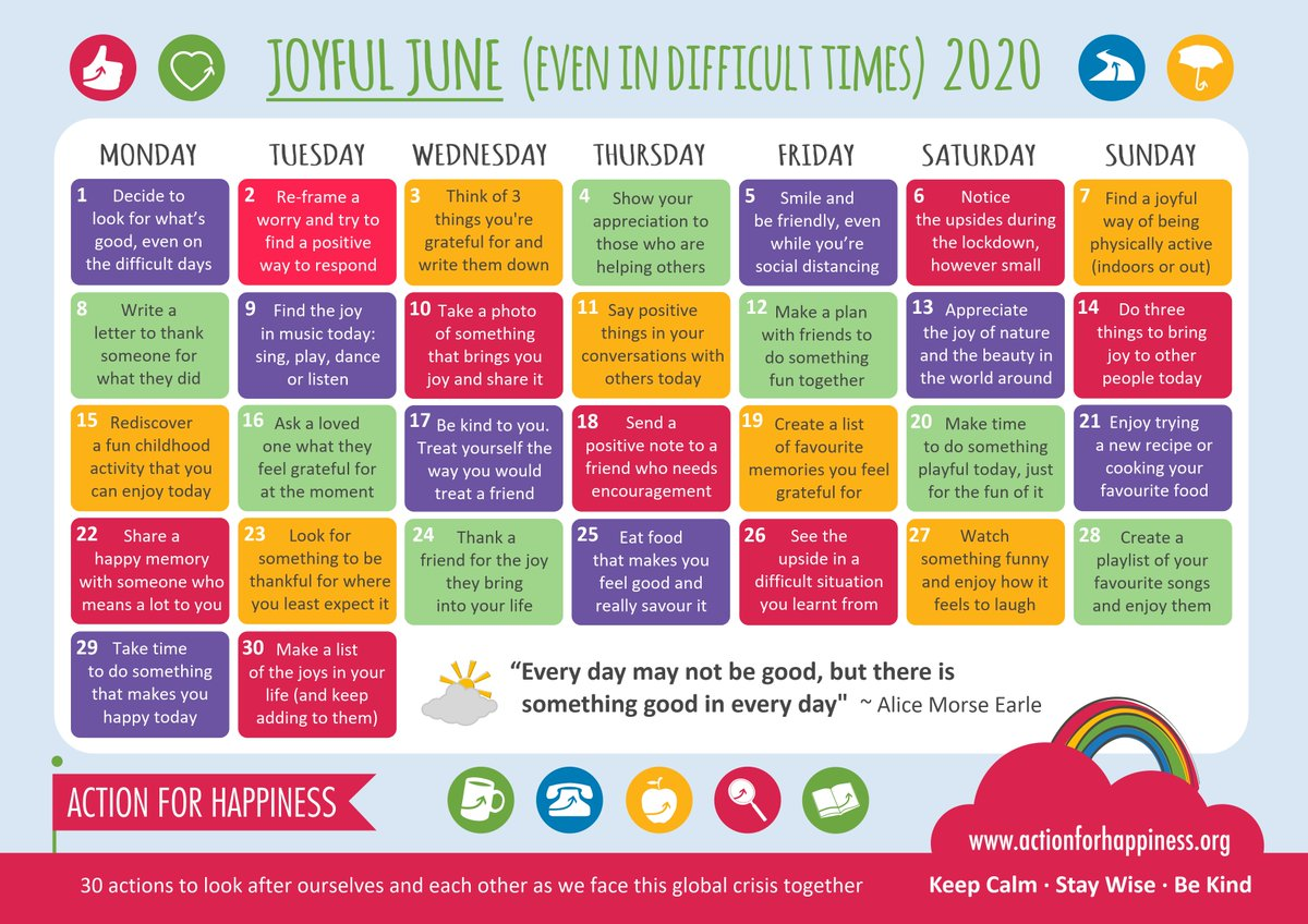 Today @actionhappiness  : 3 things you're greatful for - My family & friends, - My recovery, - My work volunteering @CGL_Lewisham  & @NationalHCAW   #JoyfulJune #ActionForHappinesspic.twitter.com/S6qQQCYmKF