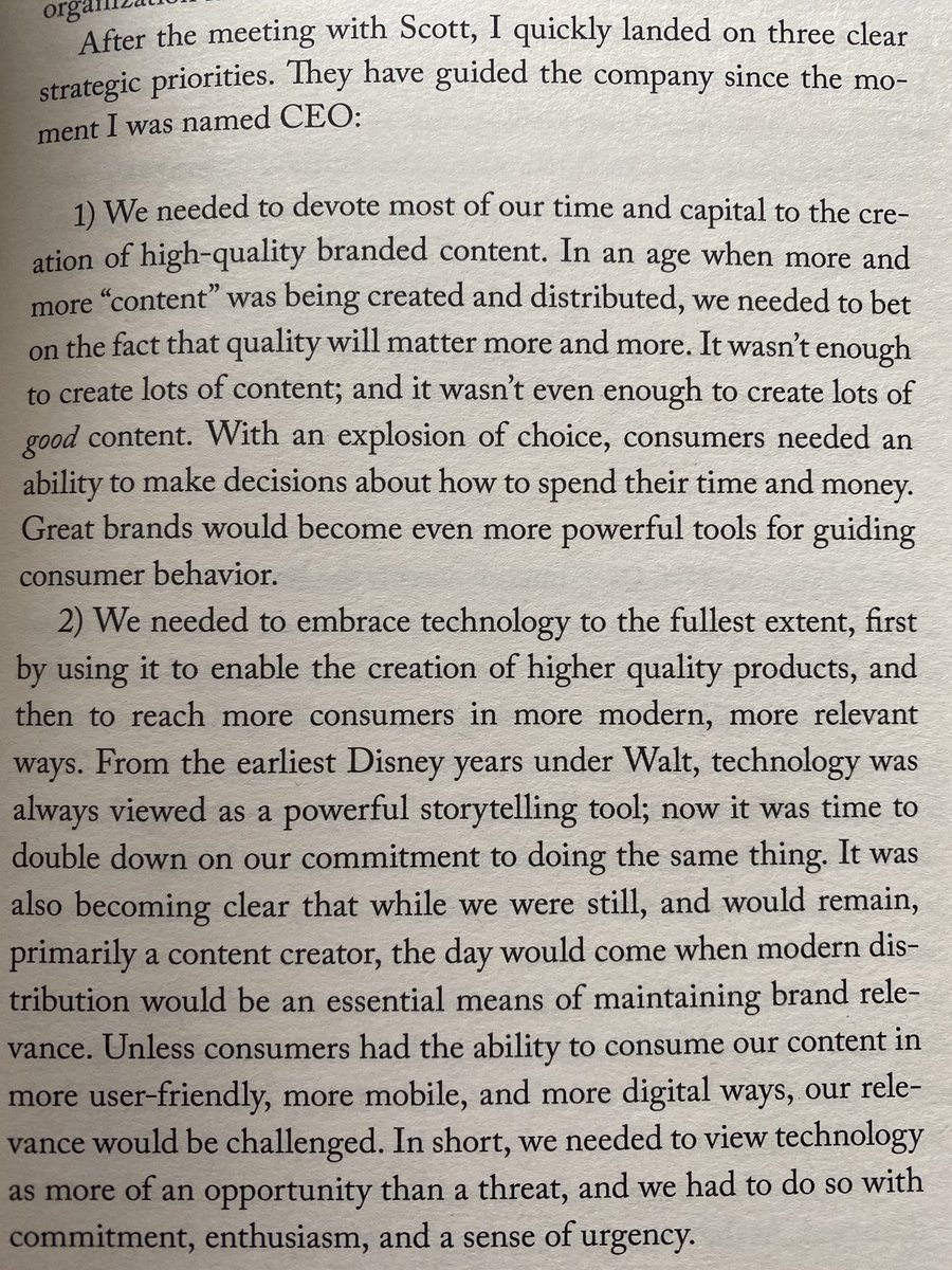 The rule of 3 works as beautifully for business leaders as for any politician. When Bob Iger pitched to become CEO of Disney, he set out three top priorities - great content, best technology, global reach - which stuck for his entire 15 year tenure as CEO. pic.twitter.com/WpuwD2bpAX