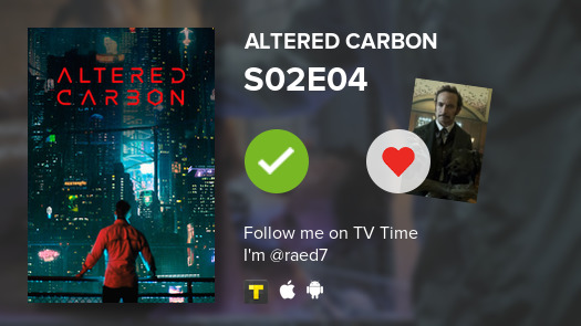 I've just watched episode S02E04 of Altered Carbon! #alteredcarbon  #tvtime  https:// tvtime.com/r/1nrOG     <br>http://pic.twitter.com/qrBv8Udwwd