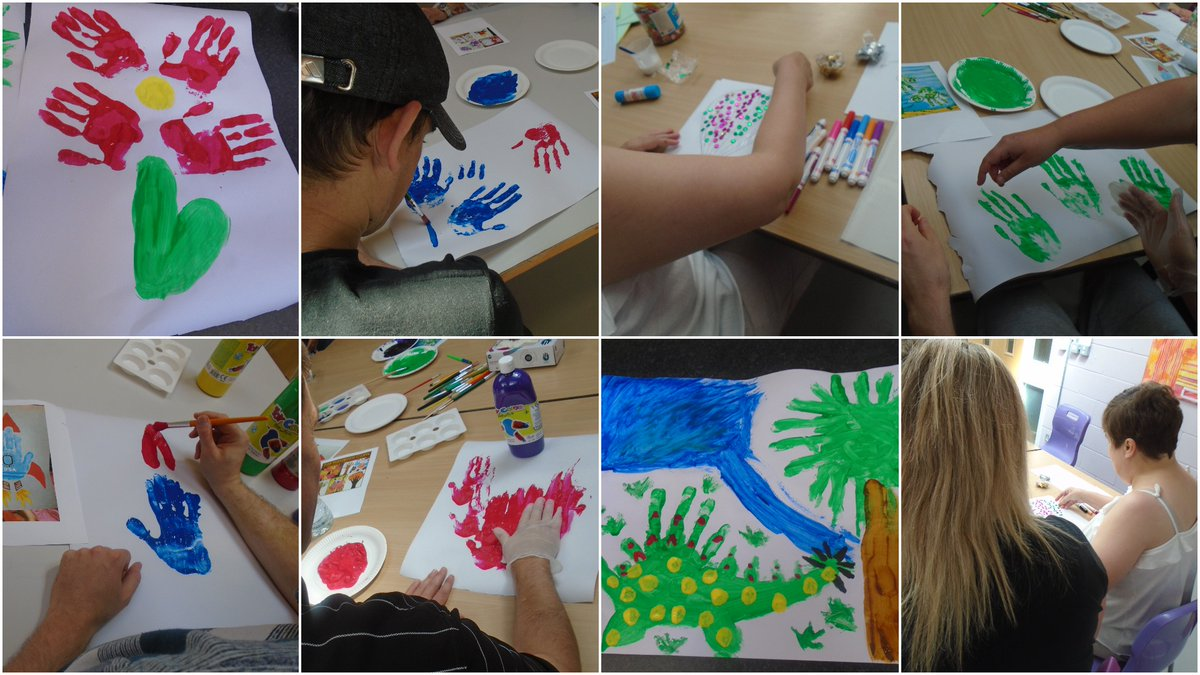 There were lots of creative designs during our recent finger painting activity at Hesley Village - it was great fun too! #handart #fingerpainting #getcreative