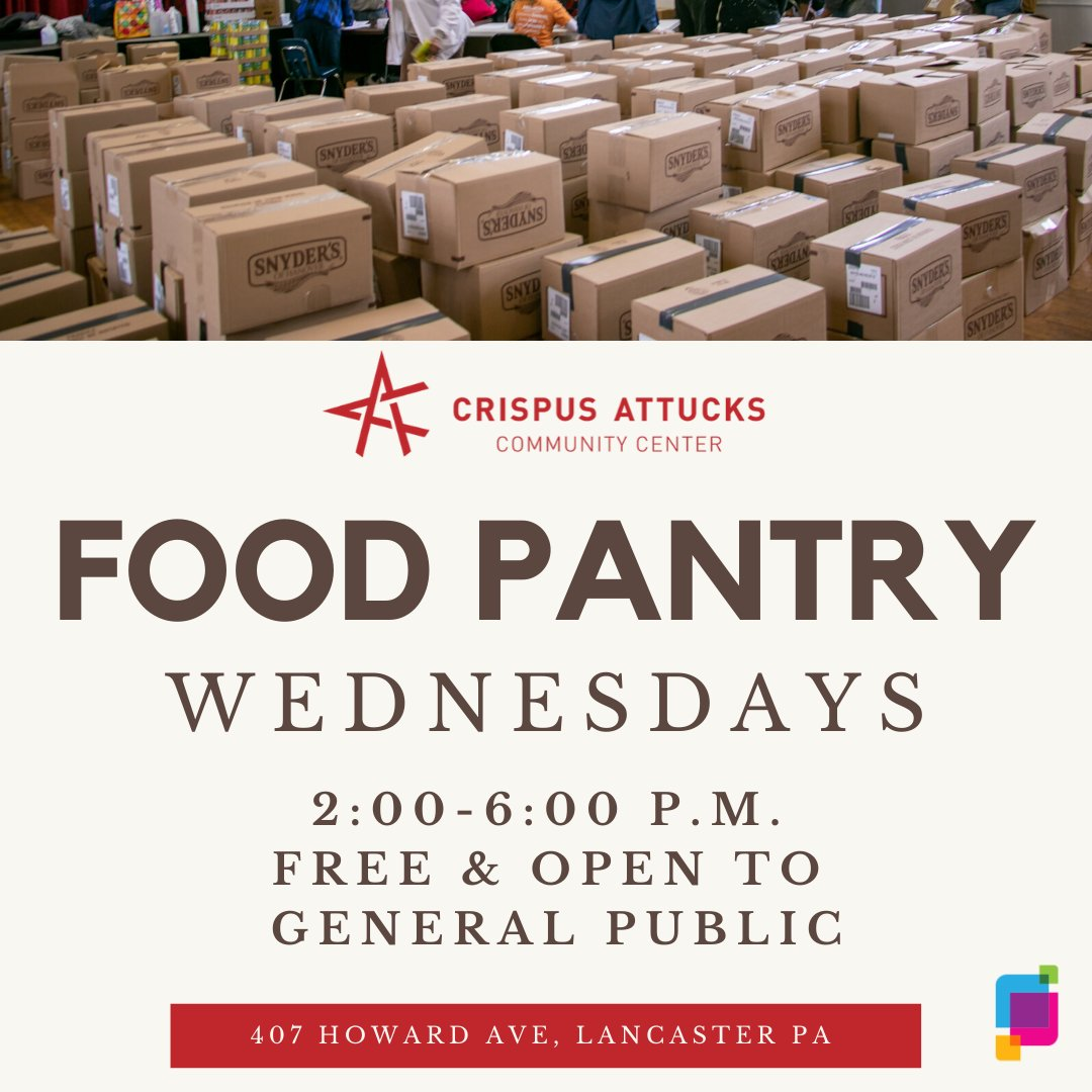 Reminder: The Crispus Attucks Community Center Food Pantry is today and 𝐞𝐯𝐞𝐫𝐲 𝗪𝐞𝐝𝐧𝐞𝐬𝐝𝐚𝐲 𝐟𝐫𝐨𝐦 𝟐:𝟎𝟎 𝐩.𝐦. 𝐭𝐨 𝟔:𝟎𝟎 𝐩.𝐦.  free and open to the public. Please bring a cart/vehicle and someone to help you load the items. #CACCLanc #CAPLanc<br>http://pic.twitter.com/GviP0IXRJB