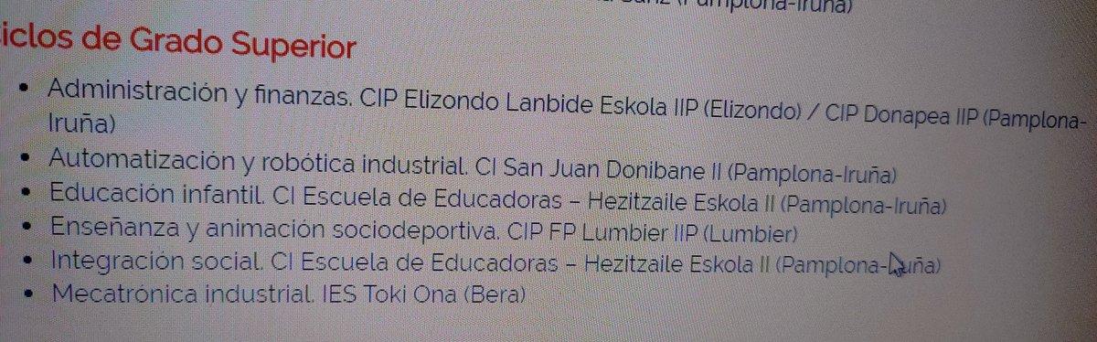 Ciclos de grado superior en euskera en Nafarroa, si seis, en toda Nafarroa... El euskera se impone mis cojones. https://t.co/oqHzYpuJ3o