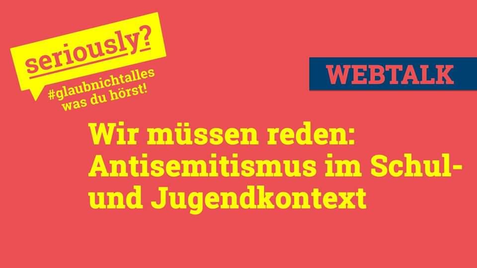 """Schulen sind nach wie vor Hotspots antisemitischer Vorfälle, während """"Du Jude"""" auf den Schulhöfen weiterhin als Beleidigung gilt: Wir müssen reden und zwar über Antisemitismus im Schul- und Jugendkontext! 🔵Livestream & Webtalk: Heute 18:00 Uhr ⬇️ facebook.com/events/2606516…"""