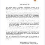 Image for the Tweet beginning: Confirman oficialmente la suspensión de