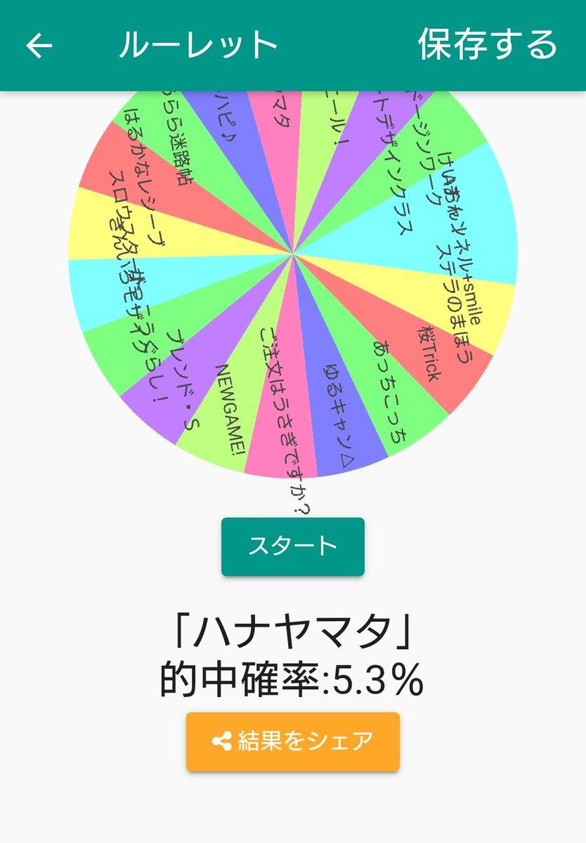 ルーレットの結果「ハナヤマタ」になりました!(的中確率:5.3%)#ルーレットで平成きららアニメほぼ全部観る#ふつうのルーレット【Android】【iOS】