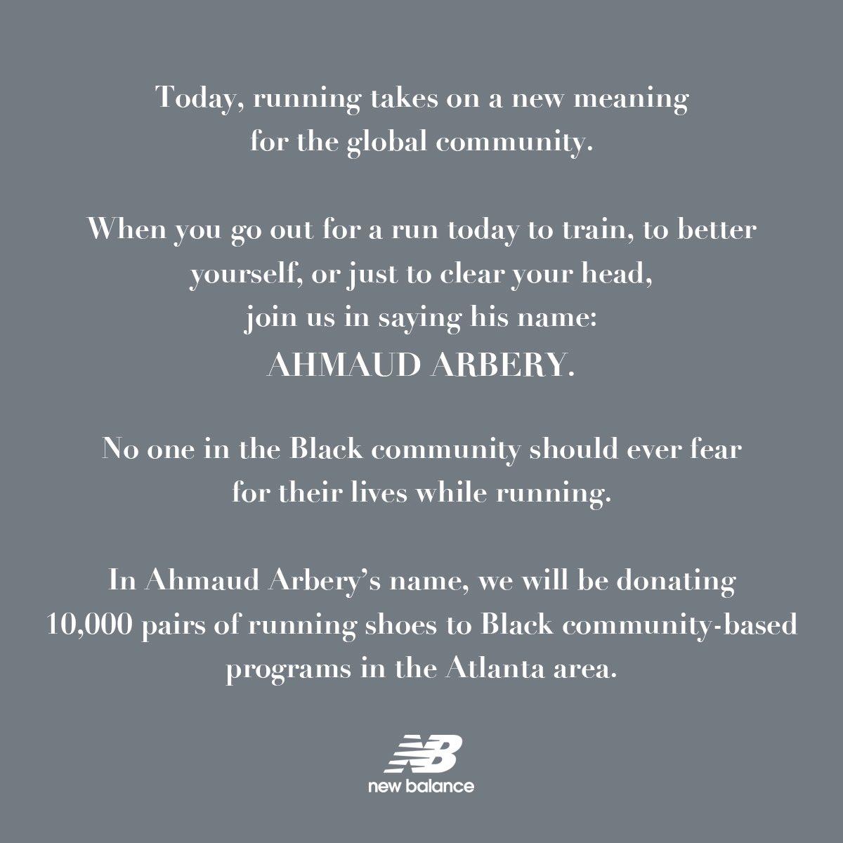 RT @newbalance: A first step.  #GlobalRunningDay #AhmaudArbery #BlackLivesMatter https://t.co/0Hi7oSg2gF