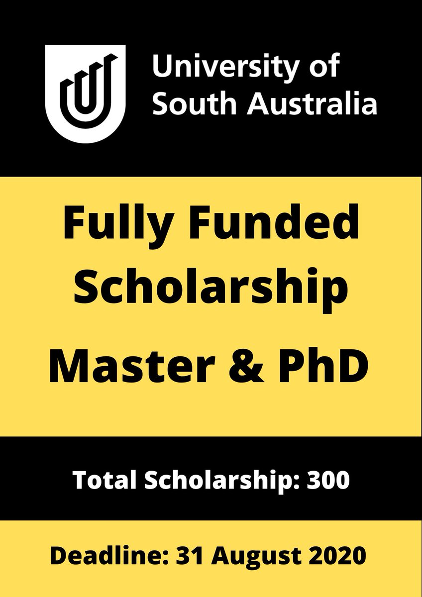 University of South Australia Scholarship 2020      Large Number of Field/Majors  Financial Coverage      Living Allowance     Thesis Allowance     Sick Leave (Paid Leave)     Recreation Leave     Full Tuition Fee Covered  Apply Link: https://bit.ly/University-South-Australia-Scholarship …pic.twitter.com/qKH3v514AC