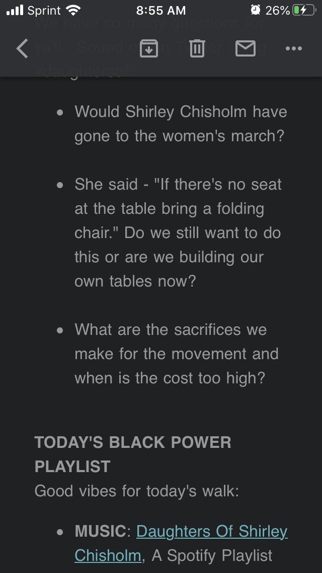 Day 3 of #GirlTrek's Black History Bootcamp reminding us that we are the #daughtersof #ShirleyChisolm. As usual the @GirlTrek playlist and reflection questions are 🔥 https://t.co/sB4nyk0HAC