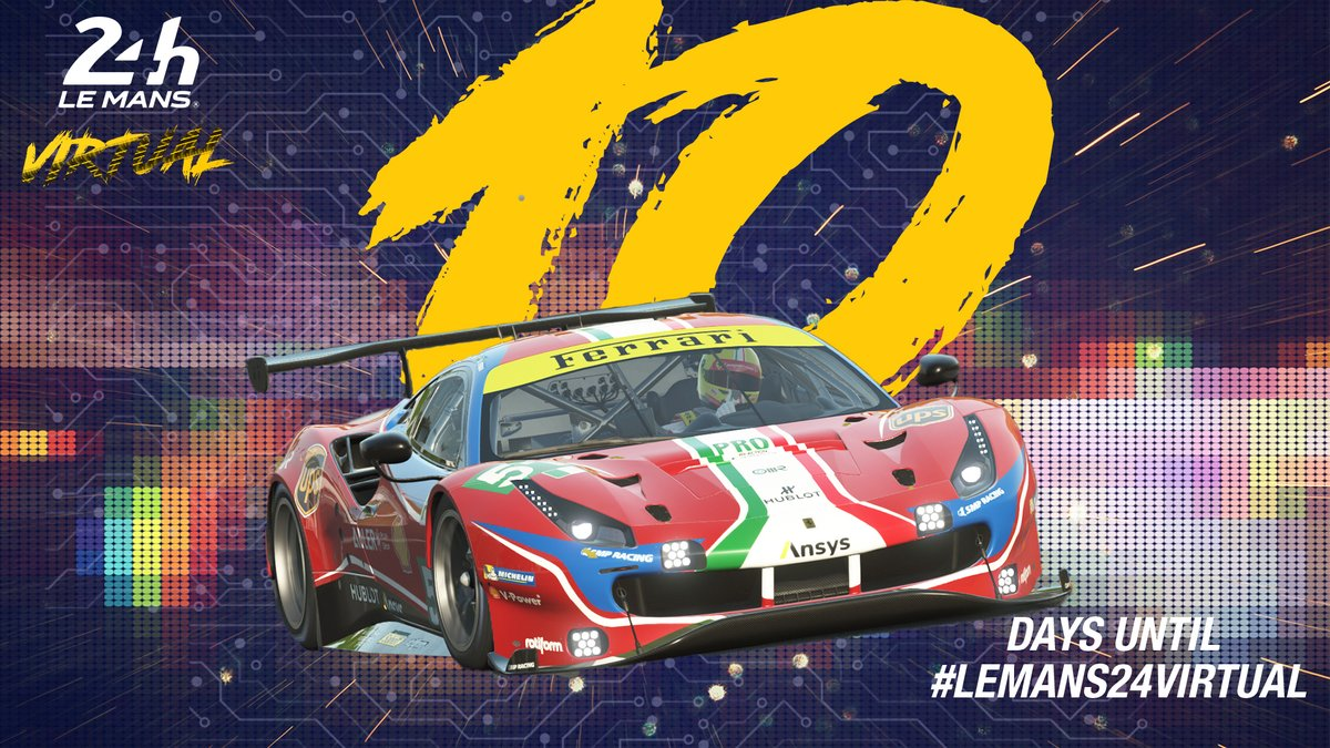 ⌛️ The countdown has begun! 🎮 Only 1️⃣0️⃣ days until #LeMans24Virtual!   Who's excited? 🙋  #LeMans24 #WEC #Motorsport #RaceAtHome #Racing https://t.co/ADHF70nhcP