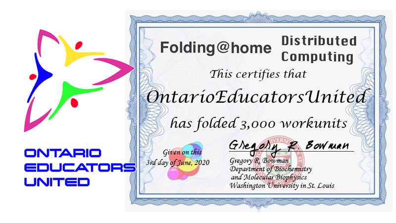 Another milestone! 3000 work units have been folded by the #OntarioEducatorsUnited team @jpedrech @banana29 @tk1ng @maximilianking9 @jenapgar @wordsintobirds @Mr_Severino @JCasaTodd @sig225  #FightCOVID19 @foldingathome