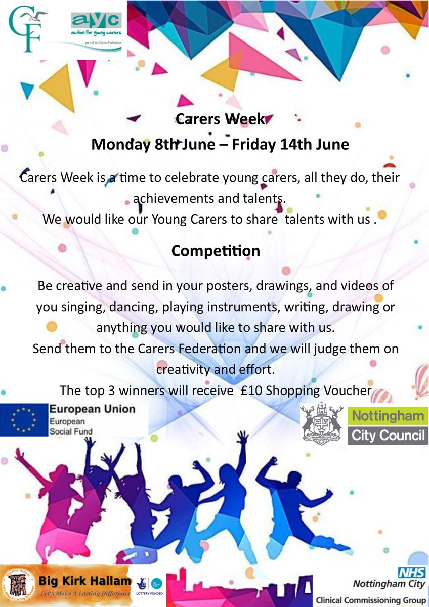 It's competition time for our Young Carers!  Time to get creative... draw, paint, sing, dance, play an instrument or any talent you'd like to share with us, we want to see it.  Closing date for entries Friday 14th June.  #youngcarers #carersweek #carers #nottingham #getcreative