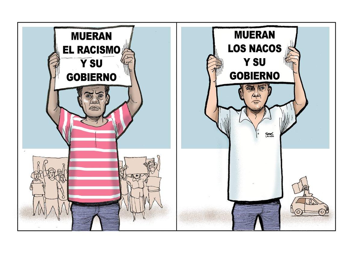 En Estados Unidos hay grandes protestas contra el racismo. En México, la derecha hace protestas minúsculas, en las que exhibe su racismo.
