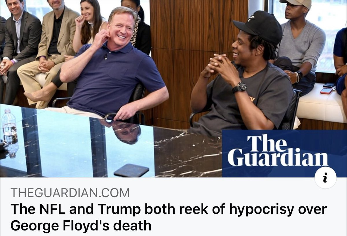 My article In The Guardian:  After #GeorgeFloyd's murder   #RogerGoodell wants us to believe that the #NFL stands against racism & police brutality, after white balling #Kaepernick from the league for taking a knee to protest  racism & police brutality  https://t.co/H5PE1fPlTU https://t.co/KtgITJhBmi