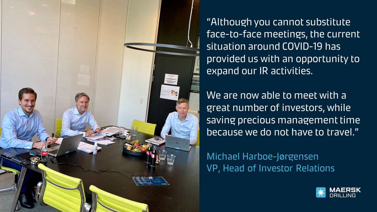 Investor Relations goes virtual! Over the coming weeks, our Executive Management and Investor Relations team would have traveled the world following the Q1 2020 Trading Statement. Instead, we are now meeting investors virtually. https://t.co/OyJki2gYoH #MaerskDrilling https://t.co/74hYiZhYtD