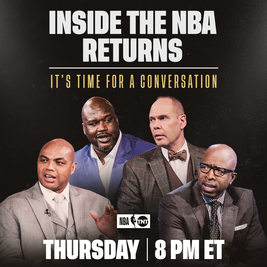 It's time for a conversation.  Join @TurnerSportsEJ, @TheJetOnTNT, @SHAQ and Charles Barkley for a special edition of Inside the NBA tomorrow at 8 p.m. ET on TNT https://t.co/TyOTQPq8VZ