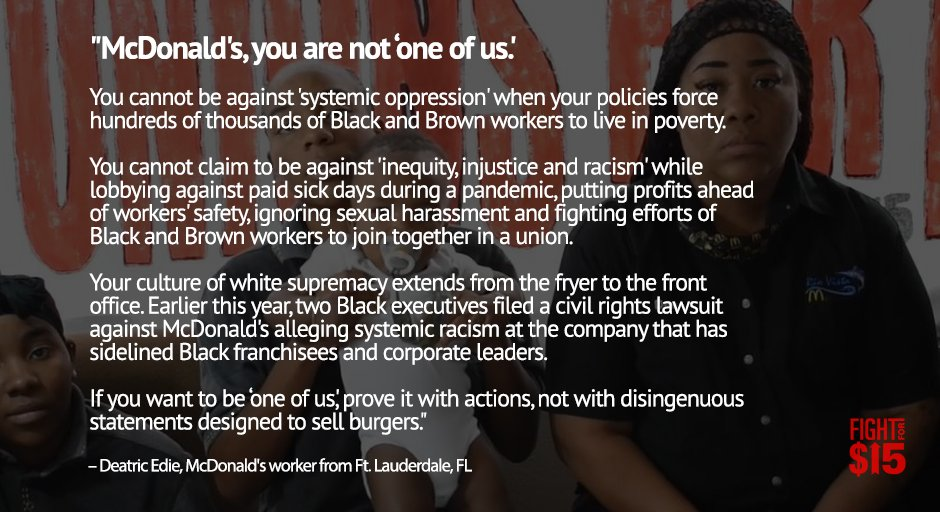 .@McDonalds you are not 'one of us.' #BlackLivesMatter #FightFor15 twitter.com/McDonalds/stat…