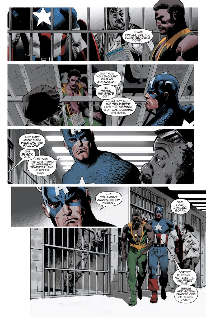 """Even Superheroes aren't safe from the Police.   Side note: Sam Wilson was the 1st Black Hero without """"Black"""" in his name.   #BlackLivesMatter https://t.co/SeorBdidxq"""
