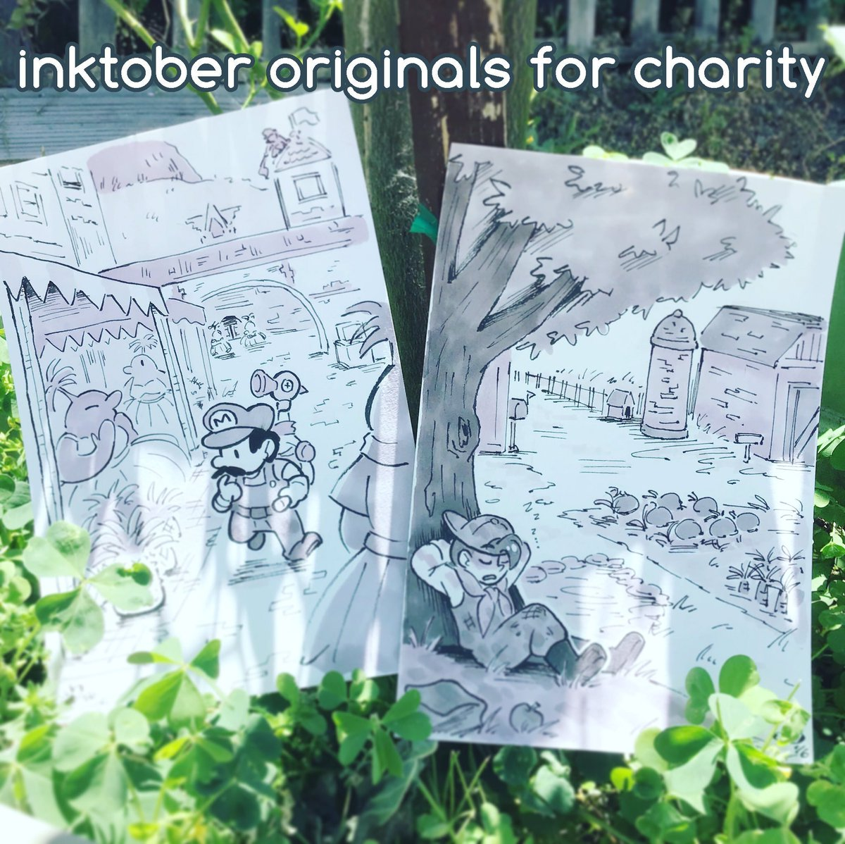 selling my inktober videogame fanart originals to raise money for charity! all proceeds will be split between community bail funds and restoring black-owned businesses affected by the riots.  pls click through the thread to see the pieces being sold!    http:// cococandelario.com/shop    <br>http://pic.twitter.com/NBPAFSrBc9
