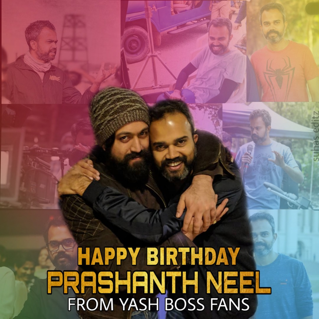 @hombalefilms @prashanth_neel Wishing a very happy birthday to our  brilliant director @prashanth_neel SIR ❤️ best wishes from YASH BOSS fans😎❤️ https://t.co/OoUTdo9gbC