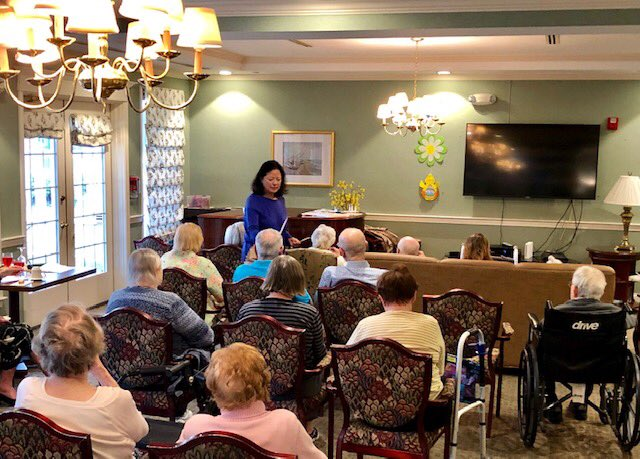 Below: At Greens of Greenwich pre-pandemic.  If your #AssistedLiving community has Essential Awakenings® kits, I'm offering complimentary one-one-one Skype/Zoom sessions to help seniors stay connected!  #brainstimulation #sensorystimulation #brainhealth #dementia #socialization https://t.co/q3pKqMPMks