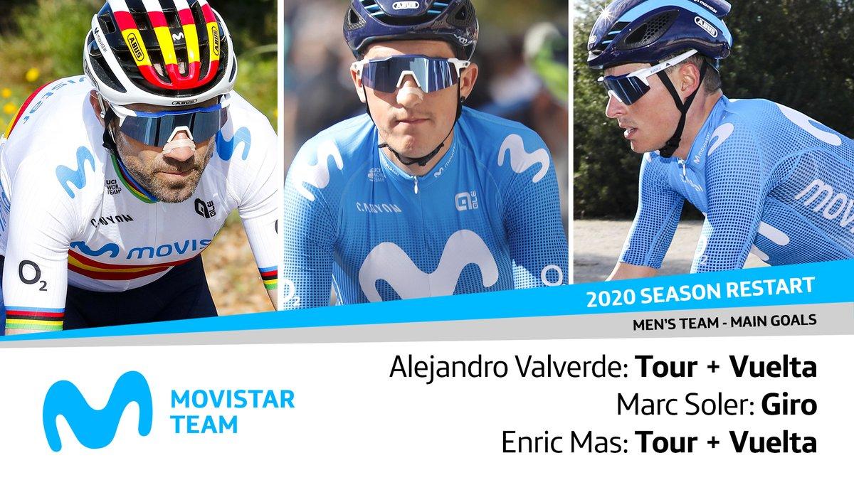 📅🚴 Eusebio Unzué ha comunicado en rueda de prensa virtual los objetivos de @alejanvalverde, @solermarc93 y @EnricMasNicolau para la temporada 2020 ⬇️   #SeguimosConectados  🗒 Here are Bala, Enric and Marc's goals for the 'new' season!  🎥 LIVE → https://t.co/P6ZtLg9dtz https://t.co/1Xn1HaM9i4