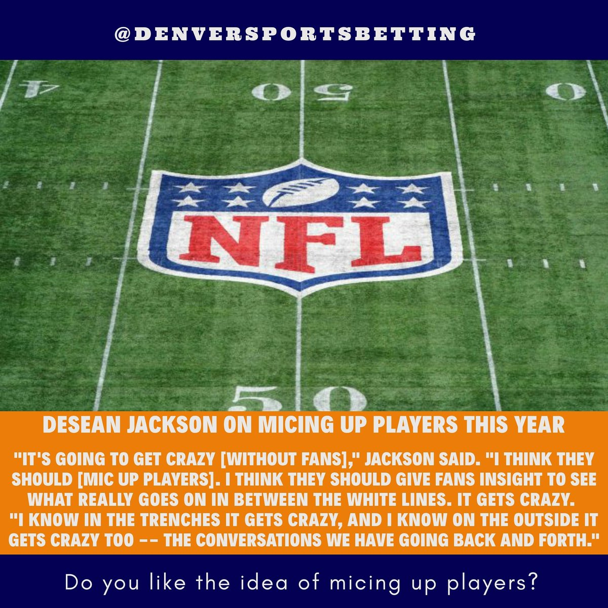 Would you want players micd up if there's no fans in the stands?   #broncos #denverbroncos #broncoscountry #nfl #denver #colorado #espn https://t.co/lmd7BG9Z3q