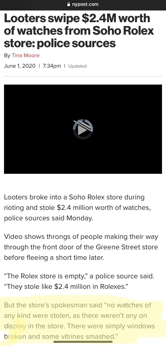 It is totally unacceptable that the @nypost would use this headline for this article. Look at the highlighted section at the bottom. The real story is that police are lying about the scale of looting! https://t.co/VEZbFvGgJa