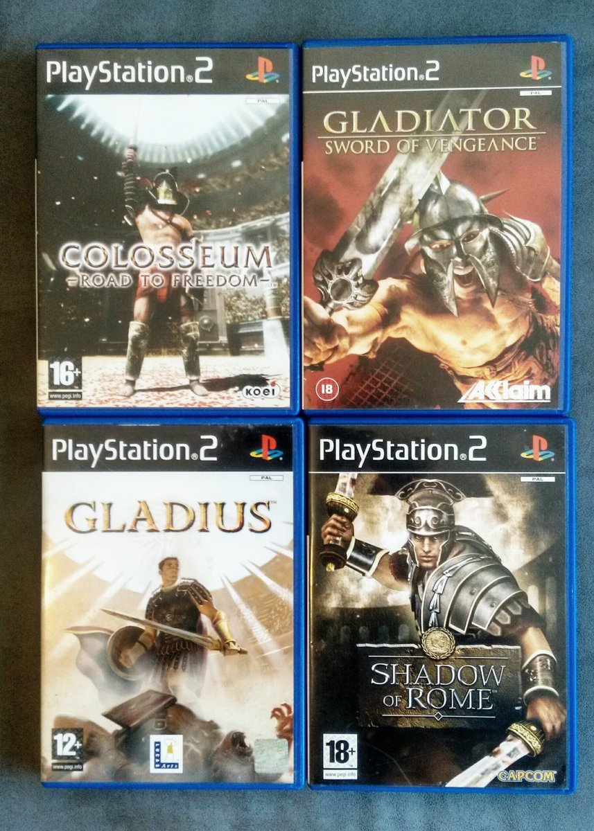 Gladiatorial games on the PS2 Have you played any of theese?  #gladiators #PS2 #playstation #Rome #gladiatorialgames #actiongames #gamecollection #retrogaming #RetroRaiderpic.twitter.com/x9zO5RS5Dq