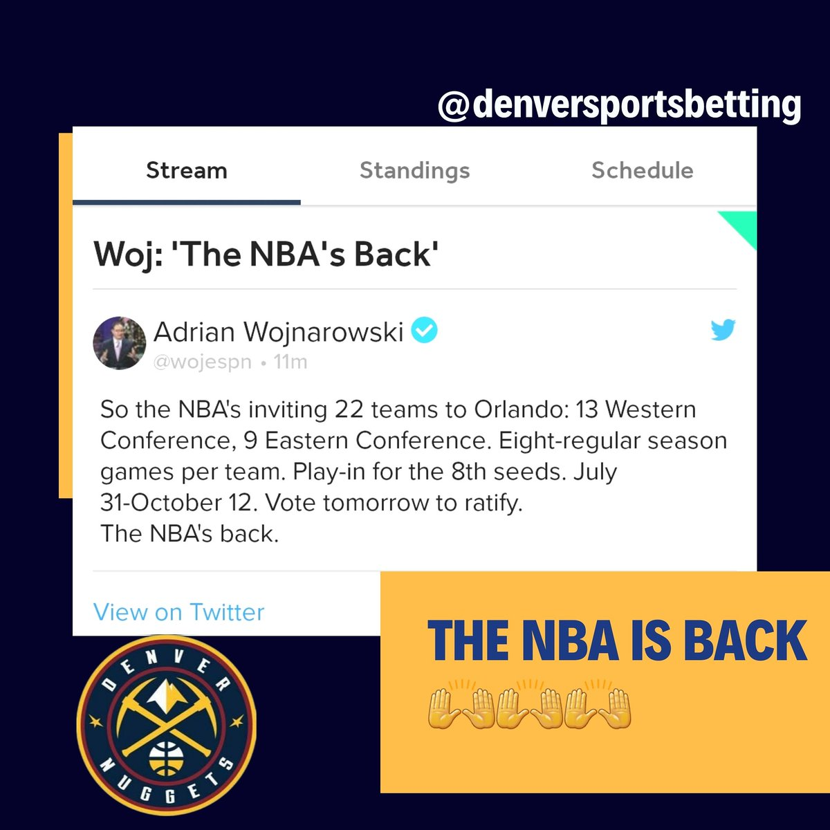 #NBA is back!!!  #denvernuggets  #nuggets #milehighbasketball #espn #basketball @mile_high_gold https://t.co/eQcD5cR2rQ