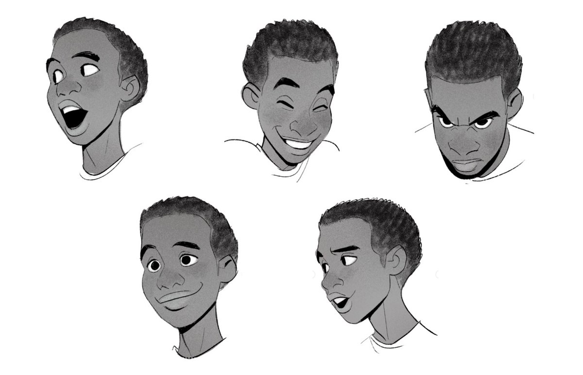 Expression sheets by Shiyoon Kim for Spider-Man: Into the Spider-Verse (2018), dir. Bob Persichetti, Peter Ramsey and Rodney Rothman, Sony Pictures Animation